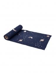Chemin de table en lin astronaute marine floqué or 5 m