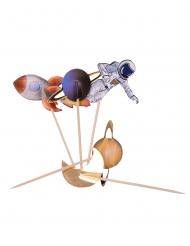 20 Pics en bois astronaute avec dorure 12,5 cm