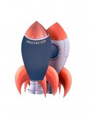8 Invitations en carton fusée marine, rouge et doré 18 x 11,5 cm