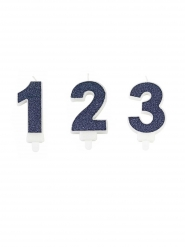 Bougie avec bobèche chiffre paillettes bleue marine 7,3 cm