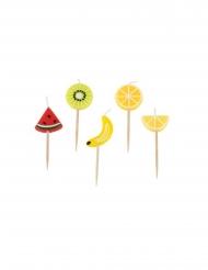 Kit 5 bougies sur pic fruits acidulés 2 x 5 x 2,5 cm