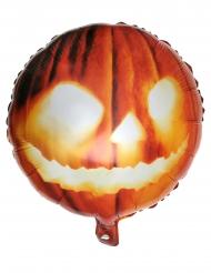 Ballon en aluminium tête de citrouille orange 35 x 18 cm