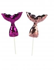 4 Pics en sequin queue de sirène violets 18 cm