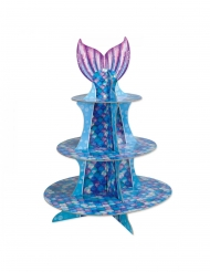 Présentoir à cupcake sirène violet bleu 40 cm