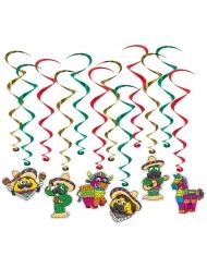 12 Suspensions en spirales fiesta mexicaine 43 - 86 cm