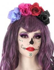 Serre-tête fleurs multicolore dia de los muertos adulte