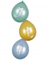 6 Ballons Sirène Lagune 25 cm