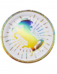 6 Assiettes en carton Licorne Holo 23 cm