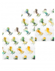 12 Serviettes en papier Licorne Holo 33 x 33 cm