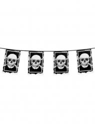 Guirlande 10 drapeaux en plastique Pirate Jolly Roger 30 x 20 cm
