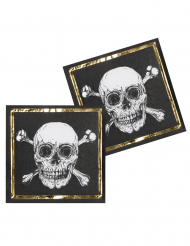 12 Serviettes en papier Pirate Jolly Roger 33 x 33 cm