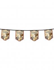 Guirlande 11 fanions en carton Steampunk 4 m