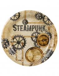 6 Assiettes en carton Steampunk 23 cm