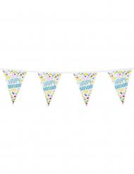 Guirlande 15 fanions Confettis Happy Birthday en plastique 6m
