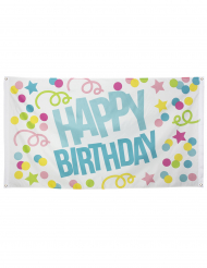 Drapeau à œillets Confettis Happy Birthday en tissu 90 x 150 cm