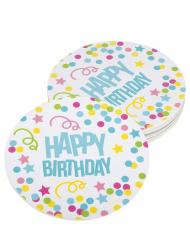 6 Sous verres confettis Happy Birthday en carton 10 cm