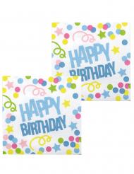 12 Serviettes Confettis Happy Birthday en papier 33 x 33 cm