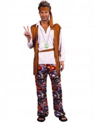 Déguisement grande taille hippie marron et blanc homme
