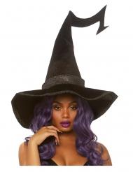 Chapeau noir luxe en velours sorcière adulte