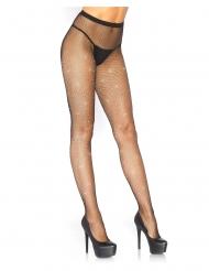 Collants résille noir cristallisés strass irisés femme