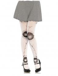 Collants poupée articulée fissurée blanc femme