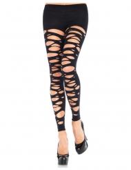 Collants sans pieds opaque lambeaux noirs femme