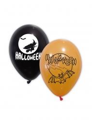 10 Ballons latex noirs et oranges Halloween 30 cm