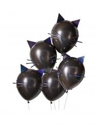 5 Ballons en latex chats noirs 30 cm