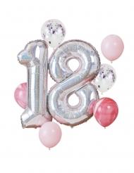 Kit ballons 18 ans argenté et rose