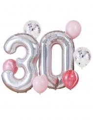 Kit ballons 30 ans argenté et rose