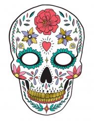 Masque en carton dia de los muertos blanc 19 x 28 cm