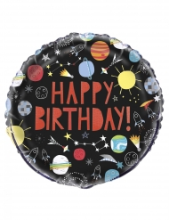 Ballon en aluminium happy birthday univers noir 45 cm