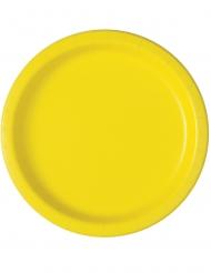 16 Assiettes en carton jaune clair 23 cm