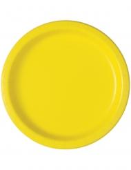 20 Petites assiettes en carton jaune clair 18 cm