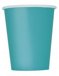 8 Gobelets en carton bleu turquoise 266 ml