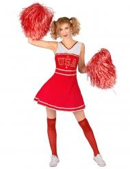 Déguisement de pompom girl USA rouge femme