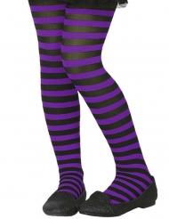 Collant rayé violet et noir enfant