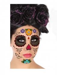 Tatouage visage dia de los muertos multicolore