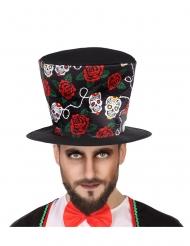 Chapeau haut de forme Dia de los muertos noir adulte