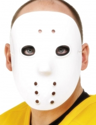 Masque de hockey blanc plastique adulte