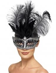 Masque Colombine vénitien gris avec plumes adulte