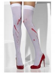 Bas opaques blancs avec tâches de sang femme