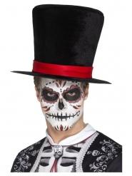 Chapeau haut de forme velour Dia de los Muertos adulte