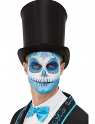 Kit maquillage et tatoo Dia de los Muertos bleu adulte