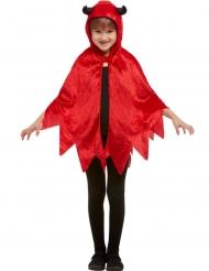 Cape diablotin à capuche velours rouge enfant