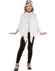 Cape fantôme à capuche velours blanc enfant