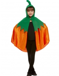 Cape citrouille à capuche velours orange enfant