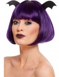 Perruque courte violette avec ailes chauve-souris femme