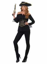 Chemise pirate noire luxe femme