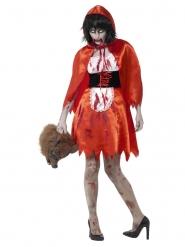 Déguisement chaperon rouge satiné zombie femme